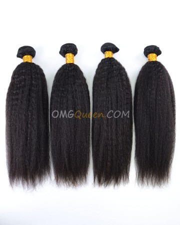 Indian Virgin Hair Kinky Straight Natural Color 4pcs Hair Weave/Weft High Quality Hair  [IHW40]