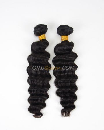 Indian Virgin Natural Color 2pcs Milan Curl Hair Weave/Weft High Quality Hair [IHW13]
