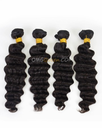 Hair Weave/Weft Milan Curl Indian Virgin Hair Natural Color 4pcs High Quality Hair [IHW33]