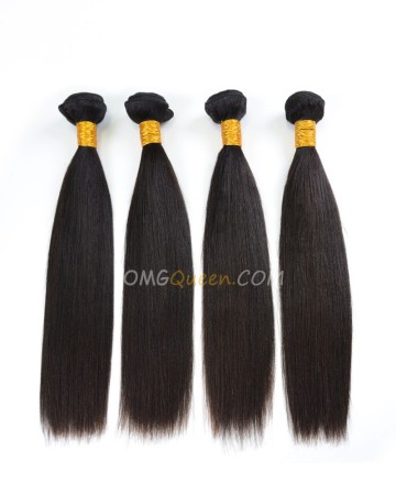 High Quality Indian Virgin Hair Yaki Straight Natural Color 4pcs Weave/Weft  [IHW35]