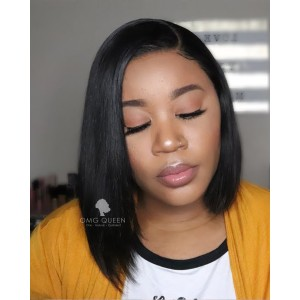 Closure Wig Glueless Short Silky Straight Bob Lace Wig Human Hair Wigs [UPW07]