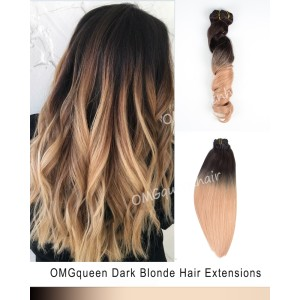 Ombre Dark Blonde Clip In Hair Extensions High Quality [ICP06]