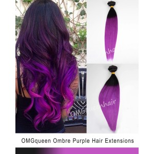 Ombre Purple Clip In Hair Extensions High Quality [ICP04]