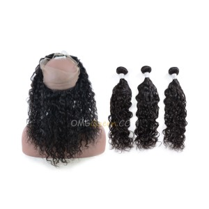One Pre-plucked 360 Lace Frontal With 3pcs Hair Weaves Bundle Deal Virgin Brazilian Natural Curly Hair [BTF04]