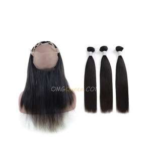 Yaki Straight One Pre-plucked 360 Lace Frontal With 3pcs Hair Weaves Bundle Deal Virgin Brazilian Hair [BTF05]
