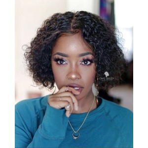 Bad Boss Vibe Short Pixie Curly Bob Brazilian Hair Lace Front Wigs [BMW35]