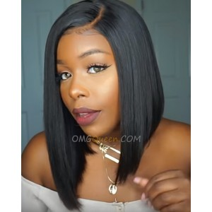 Beyonce Style Bob Haircut Natural Black Lace Wigs Silky Straight Brazilian Virgin Hair 150% Density [BMW13]