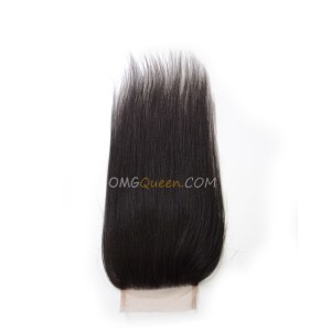 Virgin Brazilian Yaki Straight 4X4inches Lace Closure Natural Color Affordable Hair [BLC04]