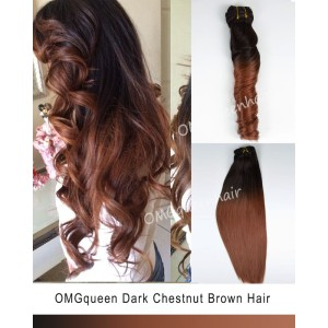 Ombre Dark Chestnut Brown Clip In Hair Extensions High Quality [ICP07]