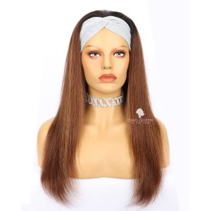 Brown With Highlight Headband Wig Affordable Virgin Human Hair [HBW04]
