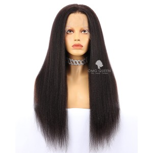 High Quality 180% Density Kinky Straight 360 Frontal Wig Malaysian Virgin Hair Affordable Wig [MTW03]