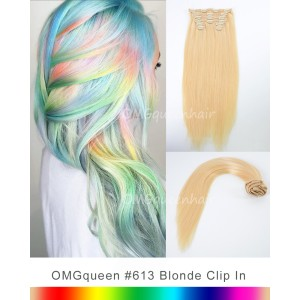 High Quality #613 White Blonde Clip In Indian Virgin Hair Extensions DIY DYE Color [ICP01]