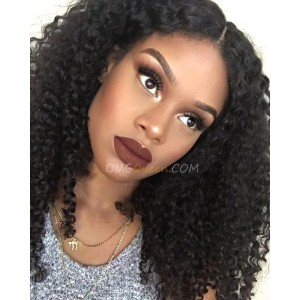 Natural Color Kinky Curl Indian Virgin Hair Lace Front Wigs High Quality Human Hair Wig [ILW07]