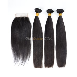 Clearance Natural Color Indian Virgin Hair Silky Straight Bundles and Closure [SD33]