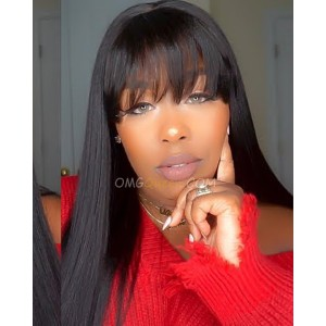 African American Wig Style Virgin Brazilian Light Yaki Lace Wigs with Bangs [BMW14]