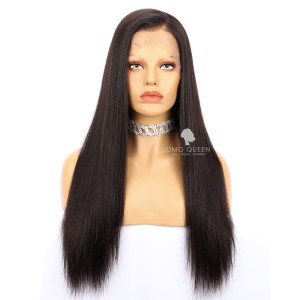 Natural Color Yaki Straight High Quality Indian Virgin Hair Lace Front Wigs [ILW05]