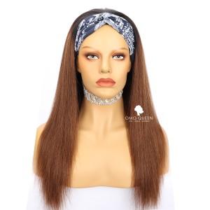Chestnut Brown Light Yaki Headband Wig Affordable Virgin Human Hair [HBW07]