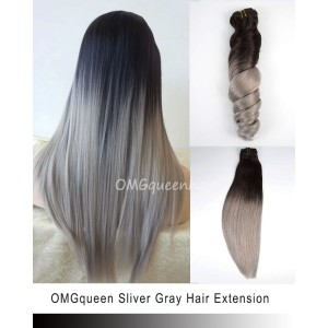 High Quality Sliver Gray Ombre Clip In Hair Extensions [ICP05]