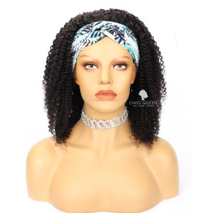 Natural Kinky Curl Headband Wig Affordable Virgin Human Hair [HBW08]