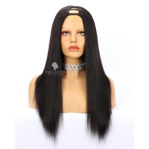 Textured Yaki Straight Human Hair U Part Wigs [UPW03]