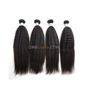 Virgin Brazilian Hair Kinky Straight Natural Color 4pcs Hair Weave/Weft Unprocessed Hair [BHW40]