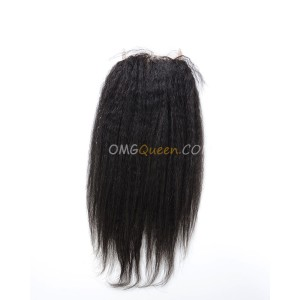 Virgin Brazilian Hair Kinky Straight 4X4inches Lace Closure Natural Color Affordable Hair [BLC10]