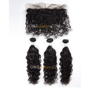 Natural Curly Unprocessed One Lace Frontal With 3pcs Hair Weaves Virgin Brazilian Hair Natural Color [BBC35]