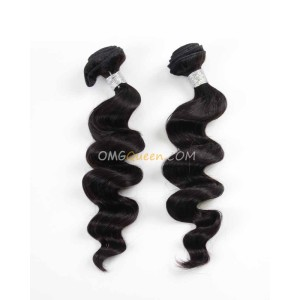 Loose Wave Natural Color Virgin Brazilian 2pcs Hair Weave/Weft Unprocessed Hair [BHW13]