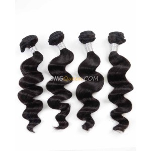 Natural Color Loose Wave Virgin Brazilian Hair 4pcs Hair Weave/Weft Unprocessed Hair [BHW33]