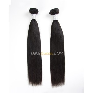Virgin Brazilian Yaki Straight 2pcs Hair Weave/Weft Natural Color Unprocessed Hair [BHW16]