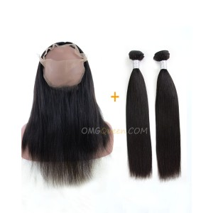 Yaki Straight One Pre-plucked 360 Lace Frontal With 2pcs Hair Weaves Bundle Deal Virgin Brazilian Hair [BBF05]