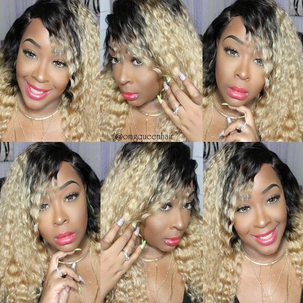 Affordable Virgin Brazilian Hair Deep Wave Blonde Ombre #1b/27 Lace Wig [BMW01]