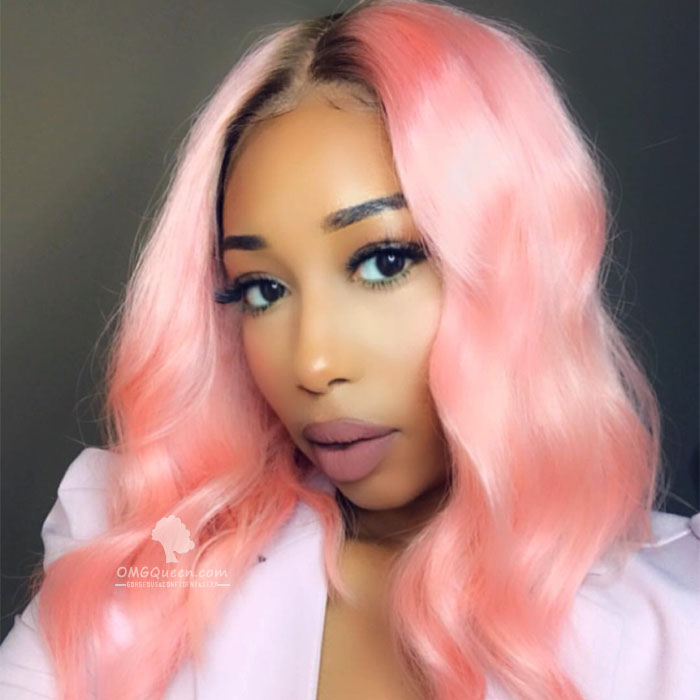 Affordable Virgin Brazilian Ombre Pink Silky Straight Bob Lace Wig Human Hair [BMW18]