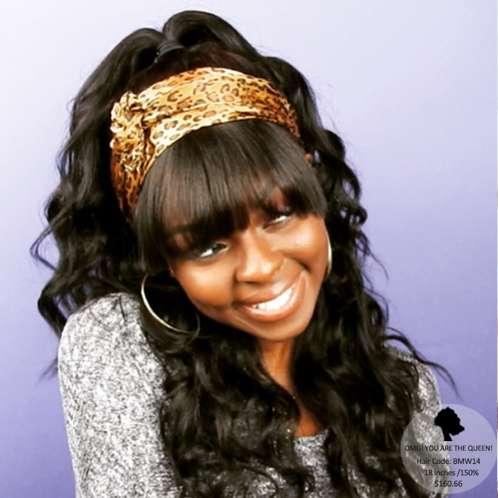 African American Wig Style Virgin Brazilian Light Yaki Lace Wigs with Bangs [BMW14