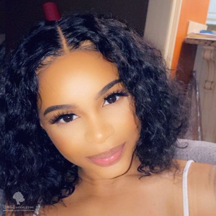 Everyday Wig Style Deep Curly Bob Lace Wigs Affordable Virgin Brazilian Hair [BMW22]