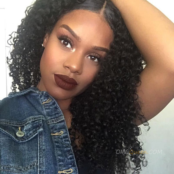 High Quality Natural Color Indian Virgin Hair Kinky Curl Full Lace Wigs [IFW04]