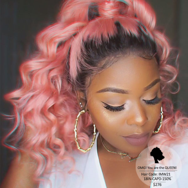 Hot Sexy Wavy Style pink Ombre High Quality Human Hair Lace Wig [IMW21]