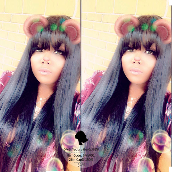 Kim Hairstyles Virgin Brazilian Silky Straight Lace Wigs with Bangs [BMW02]