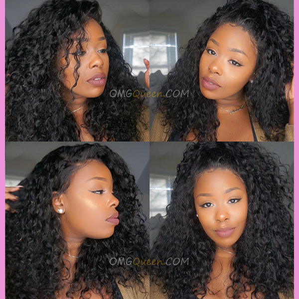 One Pre-plucked 360 Lace Frontal With 2pcs Hair Weaves Bundle Deal Virgin Brazilian Natural Curly Hair [BBF04