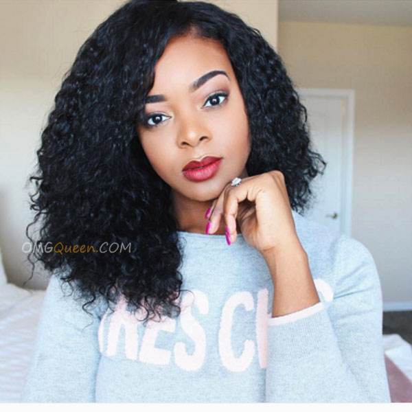 One Pre-plucked 360 Lace Frontal With 2pcs Hair Weaves Bundle Deal Virgin Brazilian Natural Curly Hair [BBF04]