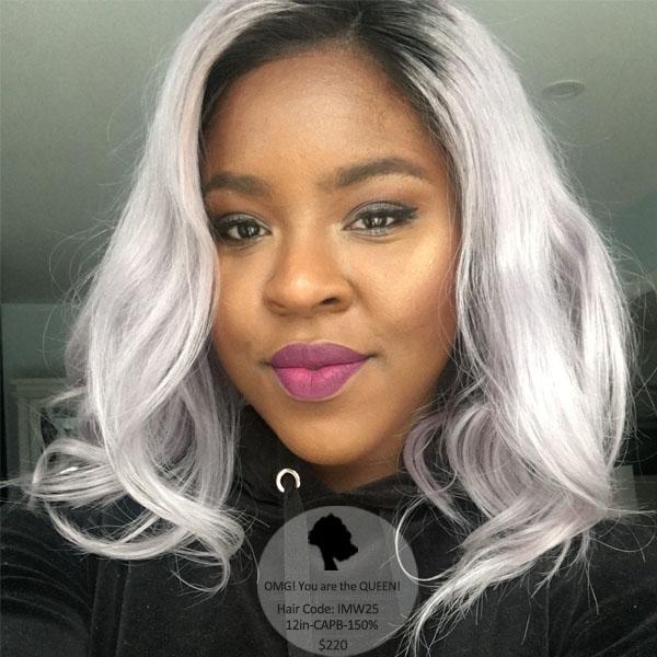 Popular Ombre Grey Bob Lace Wig Indian Virgin High Quality Wig [IMW25]