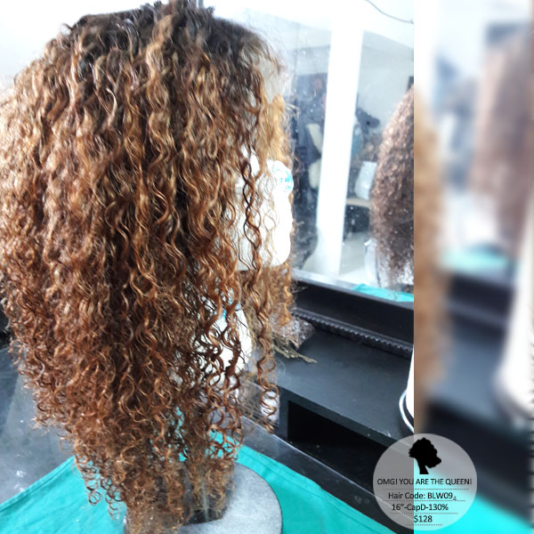 Virgin Brazilian Hair Kinky Curl Affordable Lace Front Wigs Good Quality [BLW09