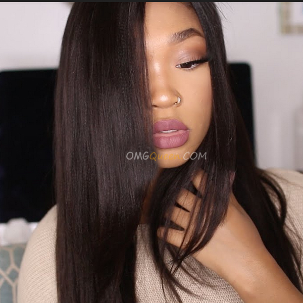 Yaki Straight Natural Color High Qualiy Silk Base Lace Wigs Indian Virgin Hair [ISW04]